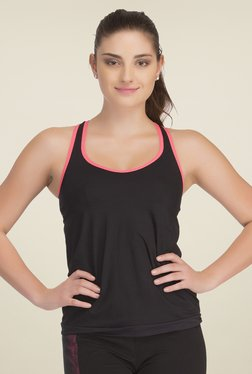 Clovia Black Solid Tank Top With Inbuilt Bra