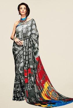 Triveni Grey Printed Silk Saree