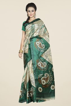 Triveni Beige & Green Printed Art Silk Saree