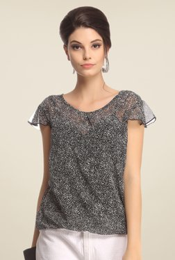 Clovia Black Printed Top