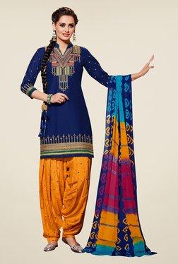 Triveni Dark Blue & Mustard Unstitched Salwar Suit
