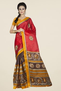 Triveni Brown & Red Printed Bhagalpuri Silk Saree