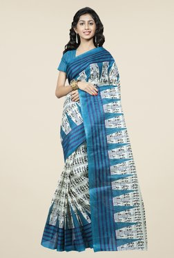 Triveni Off White & Blue Printed Bhagalpuri Silk Saree
