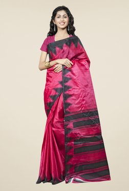 Triveni Pink Printed Bhagalpuri Silk Saree