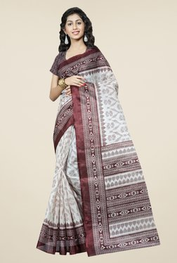 Triveni Off White & Brown Printed Bhagalpuri Silk Saree