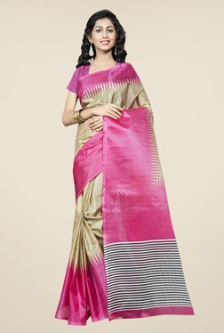 Triveni Gold & Pink Printed Bhagalpuri Silk Saree