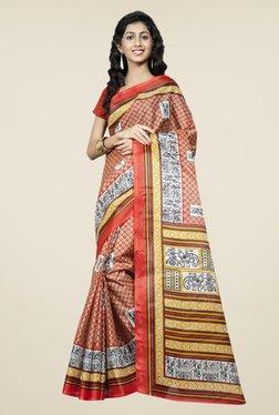 Triveni Orange Printed Bhagalpuri Silk Saree