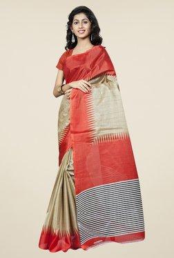 Triveni Gold & Orange Printed Bhagalpuri Silk Saree