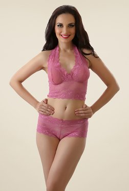 Clovia Pink Non-wired Seamless Bra & Panty Set