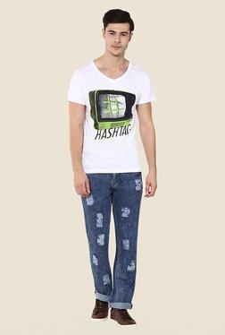 Yepme Hashtag White Graphic Print T Shirt