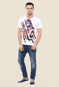 Yepme Marvel White Graphic Print T Shirt