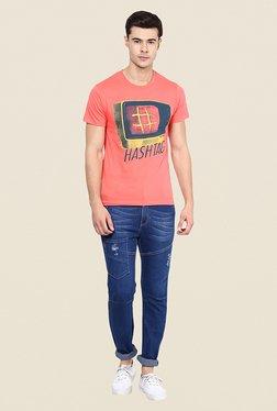 Yepme Hashtag Coral Graphic Print T Shirt