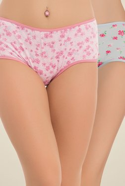 Clovia Pink & Grey Floral Print Hipster Panties (Pack Of 2)