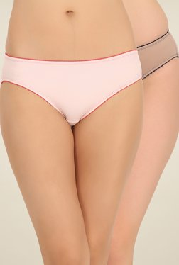 Clovia Pink & Beige Solid Bikini Panties (Pack Of 2)