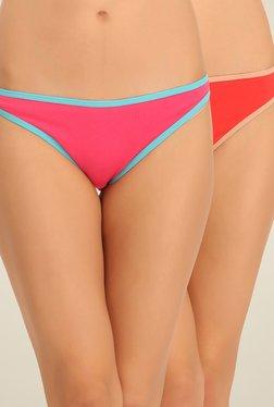 Clovia Pink & Red Solid Bikini Panties (Pack Of 2)
