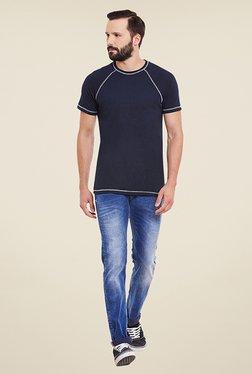 Yepme Stannis Raglan Navy Solid T Shirt