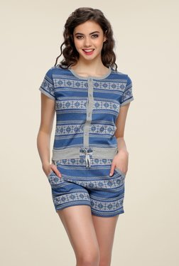 Clovia Blue Printed Playsuit