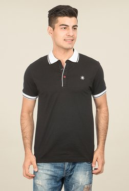 Zeven Black Solid Polo T Shirt