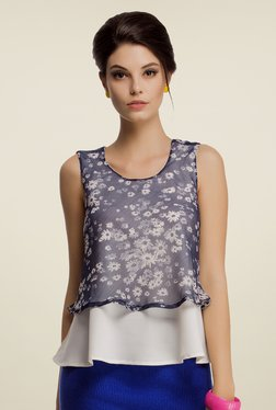 Clovia Off White & Navy Floral Print Top