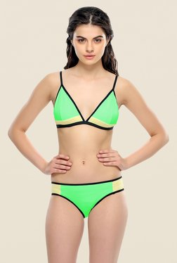 Clovia Green Non-wired Seamless Bra & Panty Set
