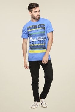 Mode Vetements Blue Graphic Print T Shirt