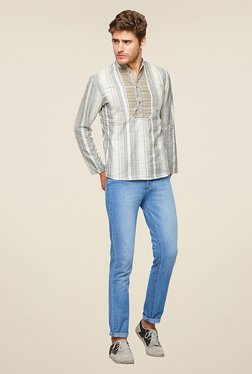 Yepme Hector Grey Striped Kurta Shirt