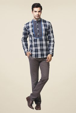 Yepme Hector Navy & Grey Checks Kurta Shirt