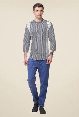 Yepme Andreas Grey & White Striped Kurta Shirt