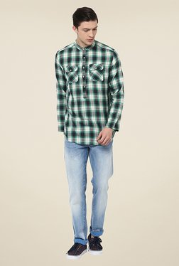 Yepme Mackey Green Checks Kurta Shirt