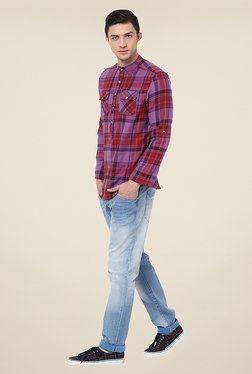 Yepme Mackey Red & Purple Checks Kurta Shirt