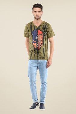 Yepme Civil War American Flag Face Off Olive Printed T Shirt