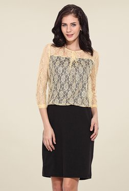 Trend Arrest Beige & Black Lace Dress