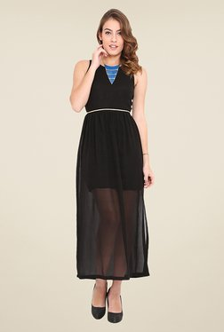 Trend Arrest Black Solid Maxi Dress