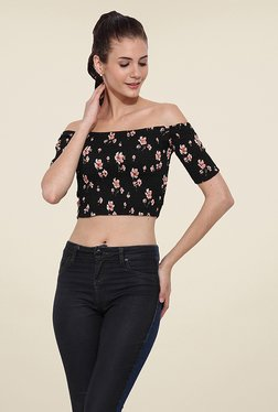 Trend Arrest Black Floral Print Top