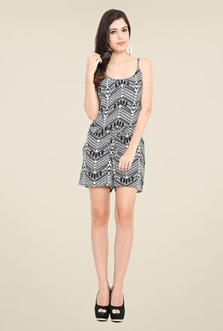 Trend Arrest Black & White Printed Playsuit