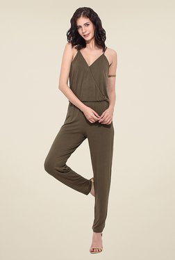 Trend Arrest Olive Solid Jumpsuit