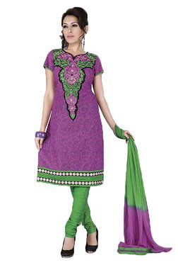 Ishin Purple & Green Printed Cotton Dress Material