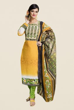 Ishin Yellow & Green Printed Cotton Dress Material