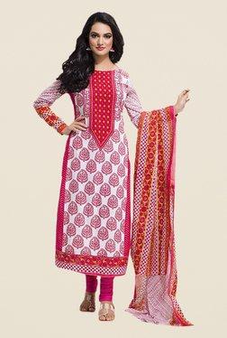 Ishin White & Pink Printed Cotton Dress Material
