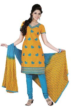 Ishin Yellow & Blue Printed Cotton Dress Material