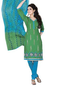Ishin Green & Blue Printed Cotton Dress Material