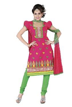 Ishin Pink & Green Printed Cotton Dress Material