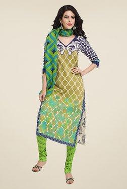 Ishin Beige & Green Printed Cotton Dress Material