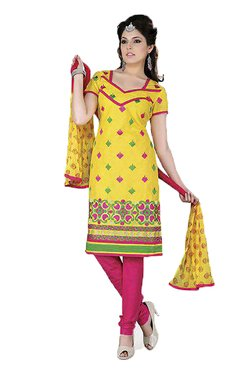 Ishin Yellow & Pink Printed Cotton Dress Material