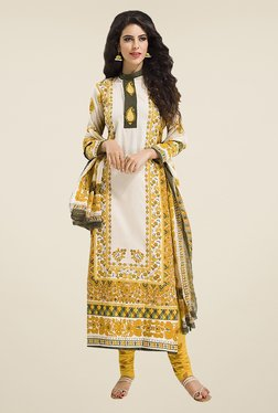 Ishin Off White & Yellow Printed Cotton Dress Material
