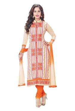 Ishin Off White & Orange Embroidered Cotton Dress Material