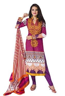 Ishin Pink & Purple Printed Cotton Dress Material