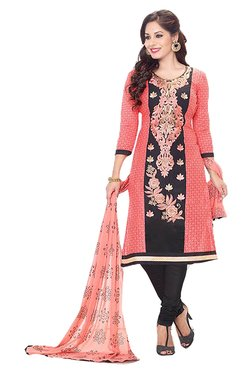 Ishin Peach & Black Embroidered Cotton Dress Material