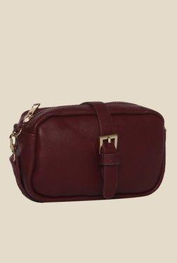 Toniq Maroon Buckle Sling Bag