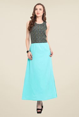 Trend Arrest Turquoise Printed Maxi Dress